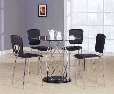 modern counter height table 5pc beverly mod chrome modern counter height dining table set