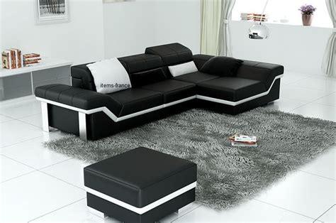 salon canapé d angle canape d angle cuir salon naples 4 canape d 39 angle noir en cuir 4 personnes pouf