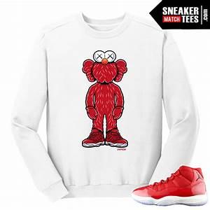 Jordan 11 Win like 96 Gym Red Kaws Elmo White Crewneck Sweater