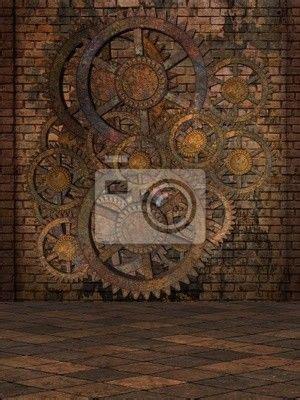 steampunk background wall mural vinyl pixers