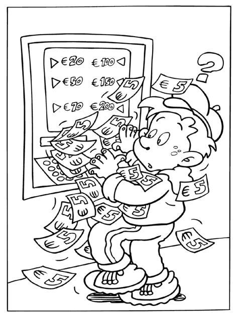 Kleurplaat Geld by Kleurplaat Geldautomaat Tilt Kleurplaten Nl