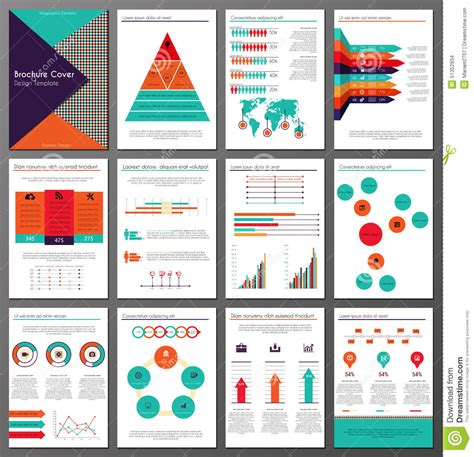 create page template infographic brochure and flyer design templates set stock vector illustration of infochart