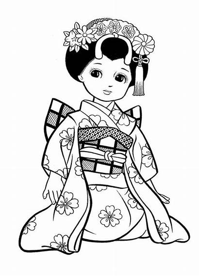 Coloring Japanese Pages Geisha Printable Adult Colouring