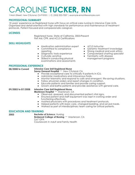 nursing resume sle writing guide