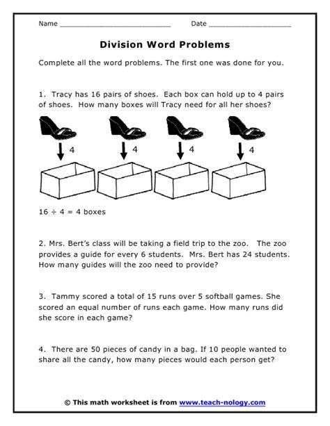 3rd grade math worksheet division word problems division word problems