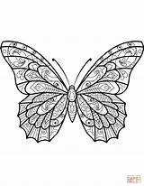 Butterfly Coloring Pages Zentangle Moth Butterflies Printable Drawing Patterns Sheets Mandala Colouring Adults Adult Printables Supercoloring Templates Pattern Insect Print sketch template