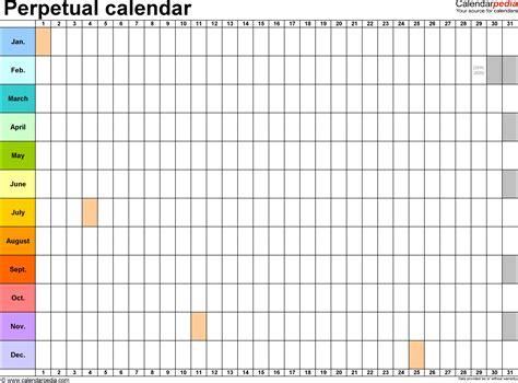 perpetual calendars printable excel templates