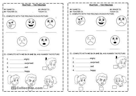 feelings describing feelings worksheets