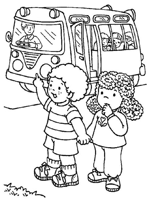 students stopping  school bus   day  school coloring page  print
