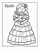 Coloring Multicultural Spain Spanish Pages Clothing Traditional Worksheet Sheets Worksheets Education Printable Around Different Culture Diversity Children Colouring Activities Preschool sketch template