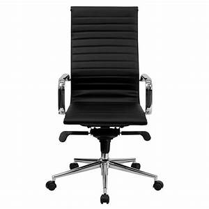 Executive, Office, Chair, Swivel, Ribbed, Upholstered, Faux, Leather, High, Back, Black
