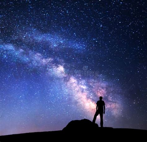 Milky Way Night Sky Silhouette Man Stock Image