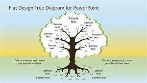 Flat Design Roots Tree Powerpoint Diagram