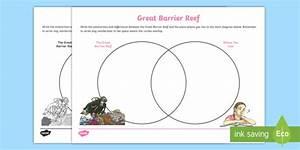 Great Barrier Reef Venn Diagram Worksheet    Worksheet