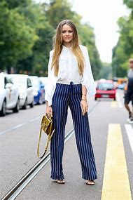 Blue and White Pinstripe Pants