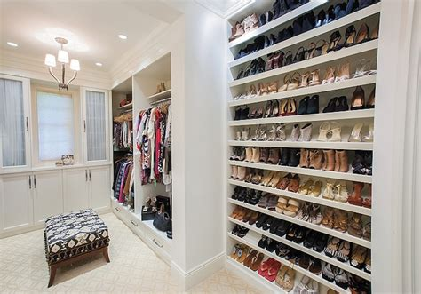 wall shoe shelves transitional closet w design