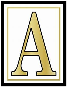 85x11 inch large rectangle printable alphabet letters a z With gold banner letters