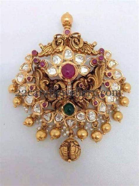 jewellery designs broad antique trendy style pendant gold and gemstone pendant