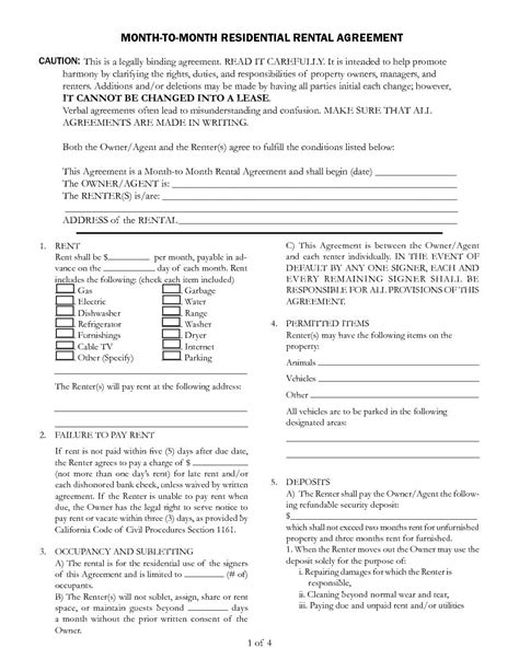 california month  month rental agreement