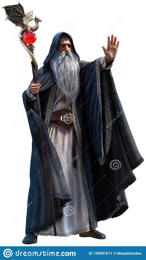 Wizard With Staff 3d Illustration Stock Illustration - Illustration of sage, adventurer: 135097611
