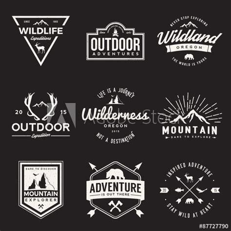 vector set  wilderness  nature exploration vintage