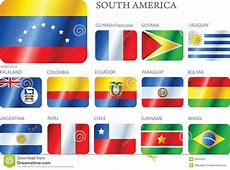 Flags South America Set Of Buttons Stock Vector