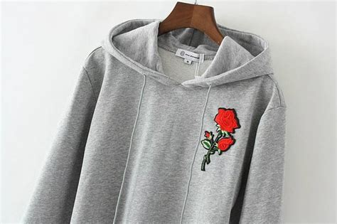 Floral, Grey, Fashion, Style, Trendy, Roses, Hoodie, Long Sleeves, Beautifulhalo