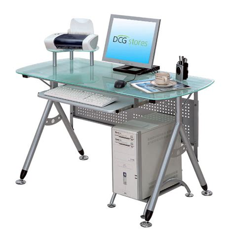 Glass And Metal Computer Desk by Metal And Glass Computer Desk Dcg Stores