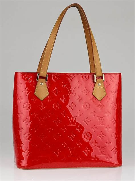 louis vuitton red monogram vernis houston tote bag yoogis closet