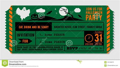 Vintage Halloween Party Invitation Design Template Stock