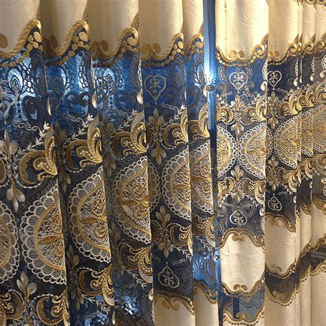 classical light gold royal blue lace chenille curtains