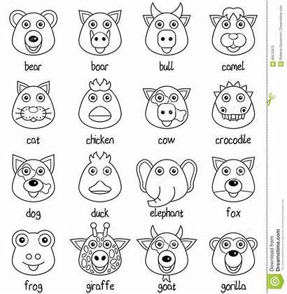 Faces Coloring Animal Cartoon Illustration Funny Vector