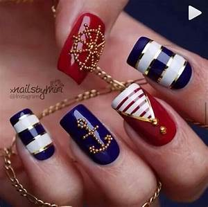 Sailor nails | nails | Pinterest