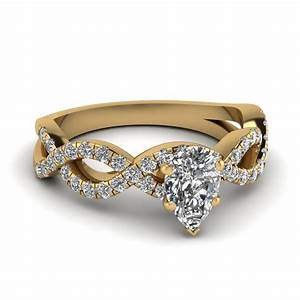 pear shaped infinity diamond ring in 18k yellow gold With pear shaped diamond wedding rings