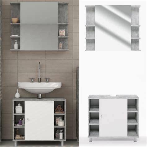Badezimmer Unterschrank Und Spiegel by Badm 246 Bel Set Fynn Grau Beton Badezimmer Spiegel Real