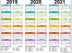 Calendar 2019 Philippines With 2020 2021 4 Three Year
