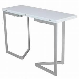 Table console extensible blanche laquee talia achat for Salle À manger contemporaineavec lit meuble