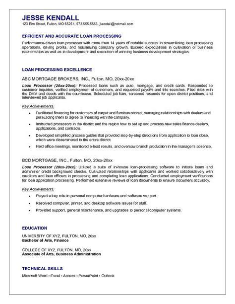 sample  loan processor resume  job application