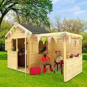 Maison Enfant Bois : maisonnette enfant bois alpaga avec pergola l125 x p121 6 x h29 7 cm 85 kg gamm vert ~ Teatrodelosmanantiales.com Idées de Décoration