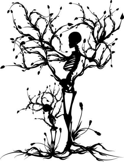 Mother and Child Skeleton Tree -- Artist: Renee Reeder | Conceptual illustration, Tree tattoo