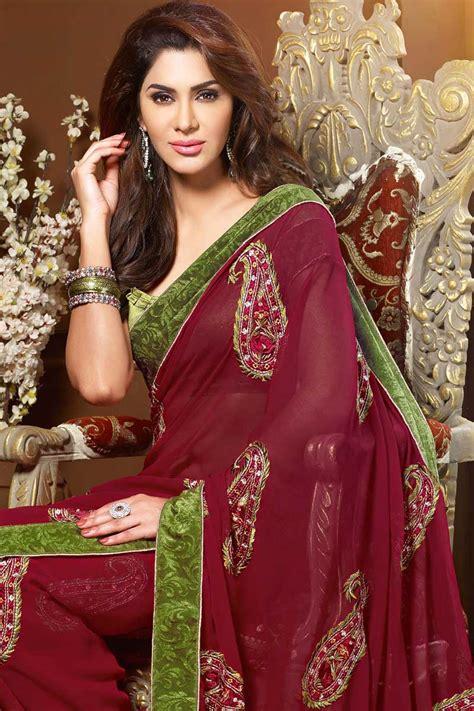 indian saree wedding pink chiffon indian sarees  neck