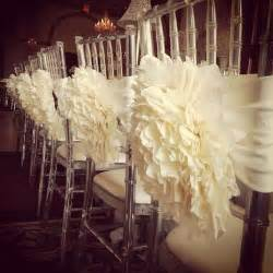 wedding chair backs ruffled wedding reception chair decorations weddings superweddings