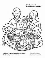 Coloring Dinner Pages Christmas Easter Printable Eating Colouring Clipart Thanksgiving Drawing Restaurant Together Sharing Sheets Coloriage Meal Cameo Repas Dessin sketch template