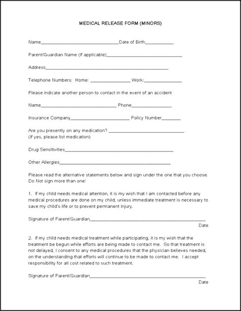 blank medical release form blank medical forms mughals