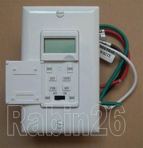 new 7 days digital led light in wall programmable timer switch cover plate white ebay