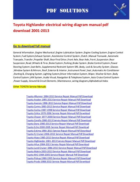 2013 Highlander Wiring Diagram toyota highlander electrical wiring diagram manual pdf