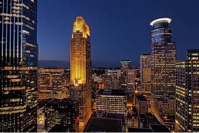 Minneapolis Minnesota Night Sky Buildings Lights Houses