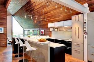 the advantages of wood ceiling in contemporary home With kitchen colors with white cabinets with qr code stickers
