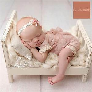 2018 Old Wood Bed Newborn Photography Props Posing Baby Photoshoot Baskets Accessories Photo ...