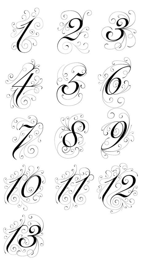 The following is a collection of decorative hand illustrated table numbers requested for my